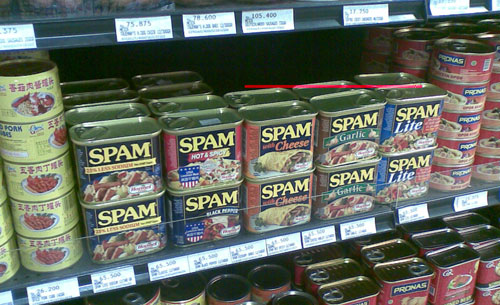 Spam v supermarketu Kuta