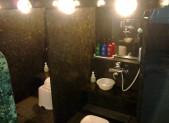 Sprchovací boxy. V lázních jich je 30 vedle sebe. Každý si sedne do svého a věnuje se své očistě. K dispozici spousta šampónu, mýdla, kondicionéru a holící pěny.